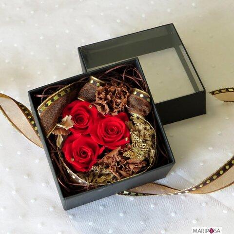 シースルーフラワーボックス (プリザーブドフラワー) ~ノーブル~無料プレゼントラッピング・メッセージカード付き