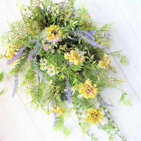 【Mサイズ】ラベンダー と 小花 の 野草テイスト な ナチュラルスワッグ