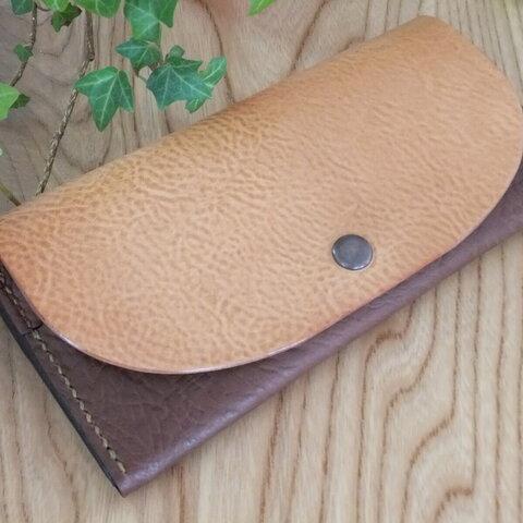 ナチュラルヌメ牛革とブラウン牛革のシンプル軽量総手縫い本革長財布TIOーSN032