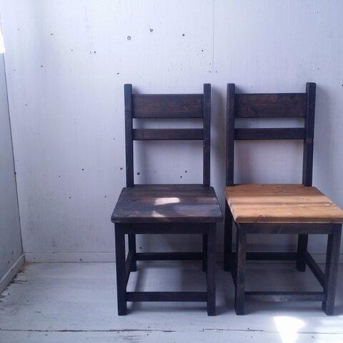 無垢ヒノキで造る家具 アンティーク風 背もたれ付チェア 椅子 イス w400 ブラック 黒