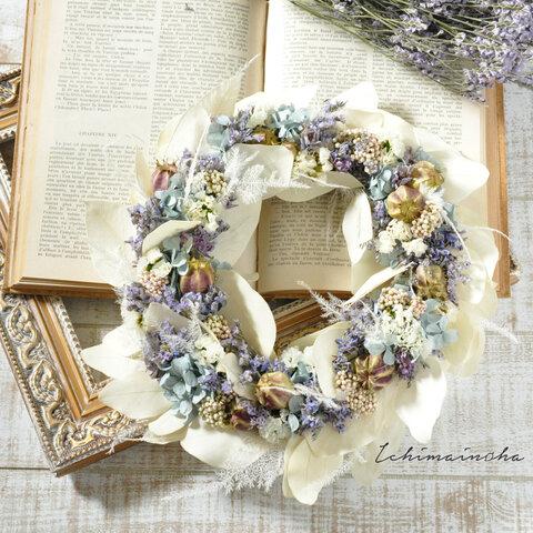 ✽水彩画のような淡い色合い✽ アジサイのリース【wreath ~light blue~ Lsize】