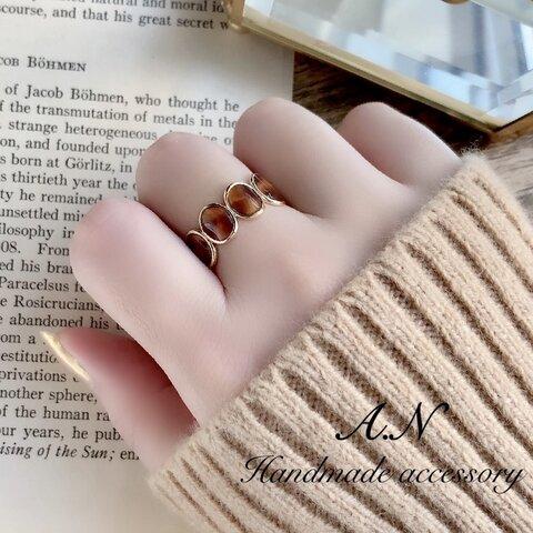 べっ甲カラーデザインリング 指輪
