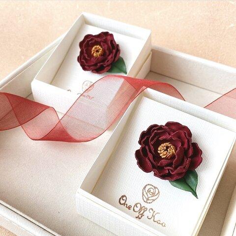 黒椿(クロツバキ)赤黒*革花ヘアゴム/秋冬レザーアクセサリー/一輪