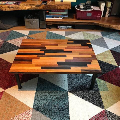 〓栄町工房〓 ミックス集成材ローテーブル 50×70×22 / 送料込み ご自身で脚取付け