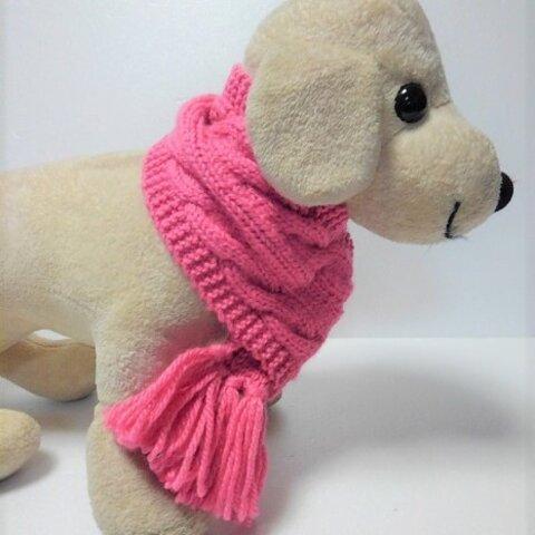 ピンクの縄編み柄のマフラー(マフラーS-7)