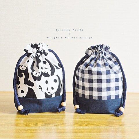 .・. コップ入れ巾着袋 パンダとチェックdesign .・.  #こもの入れ #動物 #ネイビー #大人 #子供 #ギフト #男の子 #女の子 #入園入学