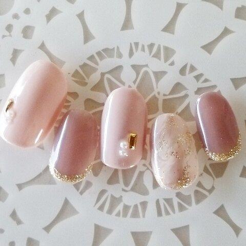 大人ピンク 上品マーブルネイル/ネイルチップ/結婚式/成人式/前撮り/ブライダル/付け爪/J114
