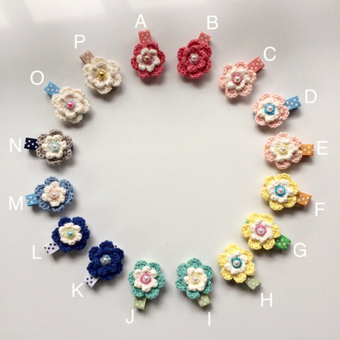 【再販】ふわふわお花のヘアクリップ  L