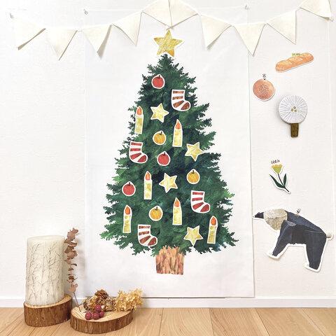 ★新作★Lくすみグリーン:ペタペタ貼れる!『もみの木』クリスマスツリータペストリーセット