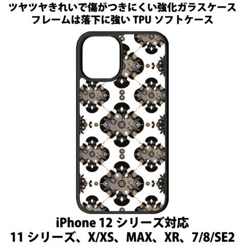送料無料 iPhone13シリーズ対応 背面強化ガラスケース オリエンタルなマンダラ2