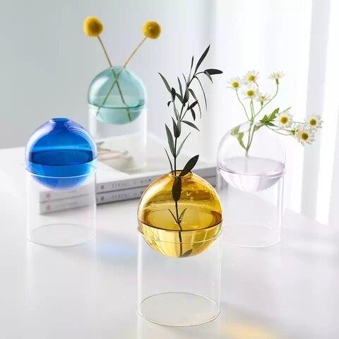 【選べる4色!】色付きガラスボールのフラワーベース【単品】