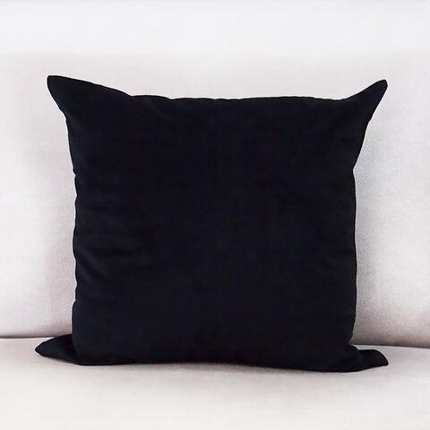 ブラック ベロア 45cm クッションカバー 黒色 北欧 ベロア ベルベッド モノトーン 白黒 シンプル 無地