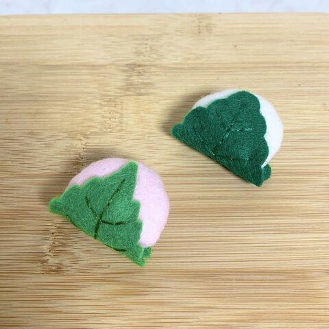 [和菓子シリーズ]桜餅と柏餅のヘアアクセサリー🌸