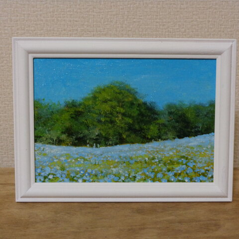 油絵原画『青い花畑』 額縁付き
