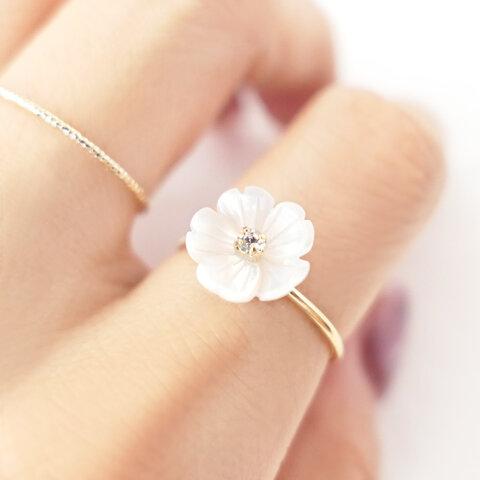 ◆ ナチュラルシェルのお花🌼⁺ ˖˚【指輪/リング】◆