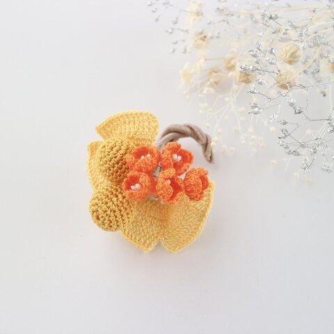 レース編みのお花ブローチ*金木犀と銀杏