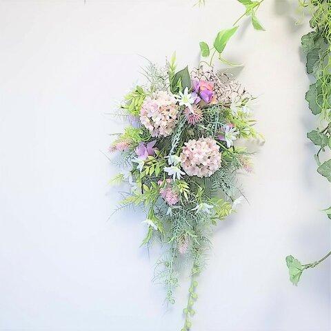 スノーボール と 小花 の ナチュラル スワッグ(パープル)アーティフィシャルフラワーアーティフィシャルフラワー