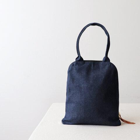 *●深まる秋SALE。賢良な鞄」厚地インディゴ デニム  縦長トート バッグ A4サイズ可 肩掛け  N93