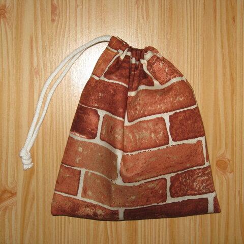 送料込み レンガ柄のコップ袋給食袋