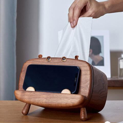 2way木製ティッシュボックスケース&スマホスタンド ウオルナットウッド
