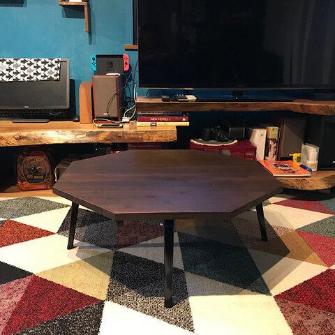 〓栄町工房〓 杉の折りたたみローテーブル 8角《ブラウン》 / 送料込み サイズオーダー可