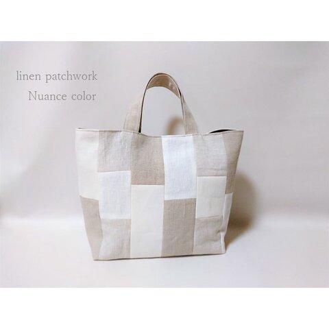 【再販】リネンパッチワークトートバッグ(ニュアンスカラー・グレー)