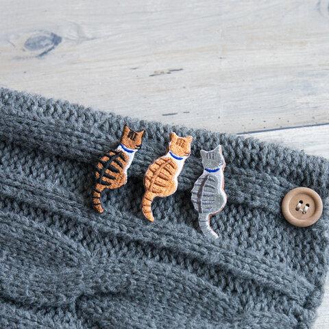 ブローチ 【 刺繍 うしろ向き猫01 】猫 茶トラ サバトラ キジトラ タビー 猫の日 プチギフト A061I