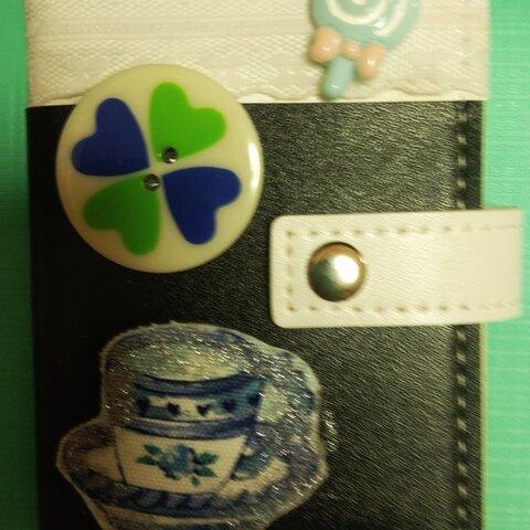 ♥(◍′◡‵◍)カードケース♥ 大人かわゆいティーカップ 昭和レトロポップボタン♥🍭ぐるぐるキャンディ