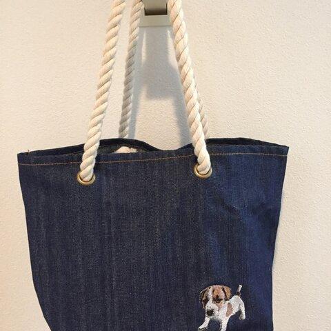 デニムロープトートバッグ 犬 ワンちゃん 刺繍 ジャックラッセルテリア仔犬