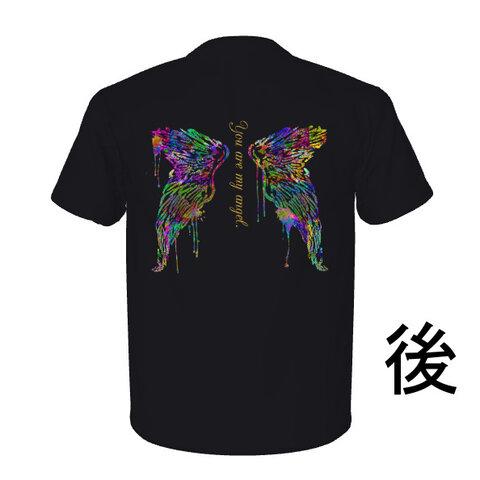 Tシャツ メンズ 天使の羽 イメージ カラフル 黒 サイズ選択可【送料無料】