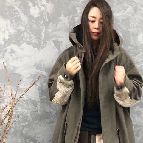 【秋の新作】憧れの。『アンティークリネンで作るフーデットモッズコート。』羽織り アウター ジャケット グリーン