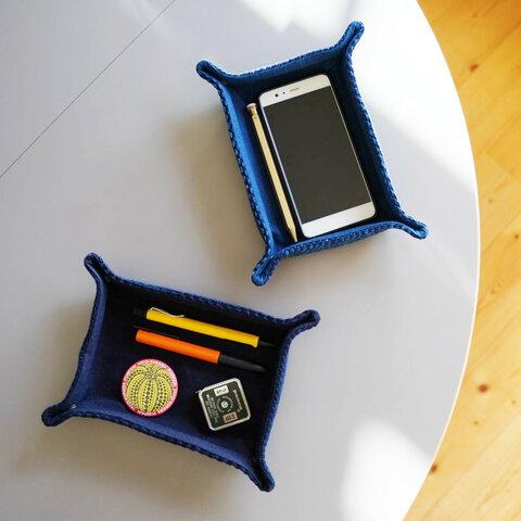 武州正藍染 長方形 トレイ 二重刺子 ブルー