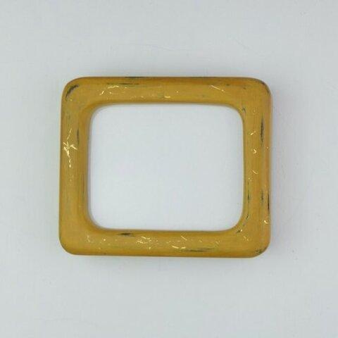 木製額縁 ハンドメイド オリジナルフレーム 一点物 隅丸(黄)