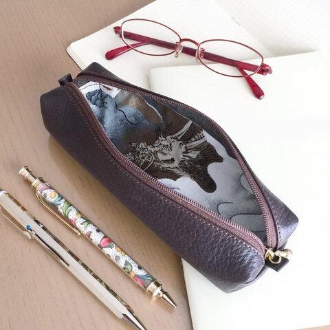 本革と和文様のペンケース
