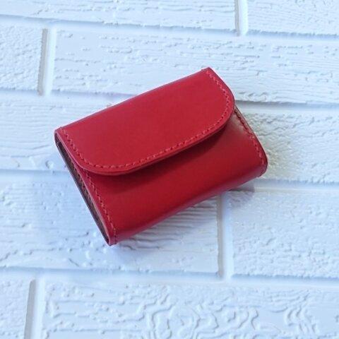 手縫いの革財布[イタリアンレザー・姫路レザー ]赤 キャッシュレス