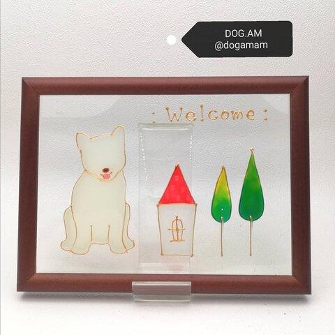 白柴 柴犬 Dog+Home ウェルカムプレート  DOG.AM