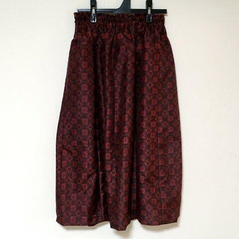 着物リメイク 大島  HH ギャザースカート  シルク 古布正絹 着物スカート