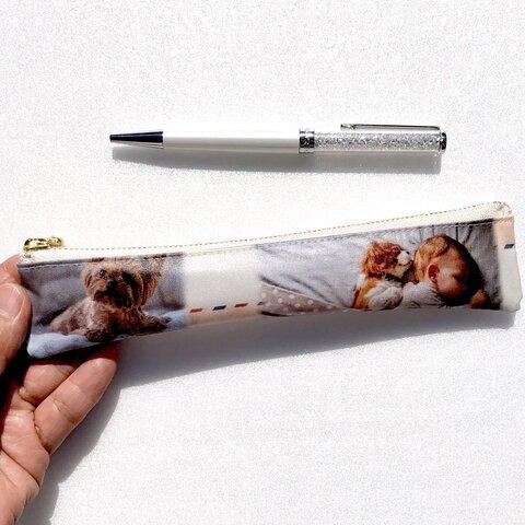 かわいい❤️赤ちゃんと犬🐶 ラミネートスリムペンケース 20cmファスナー