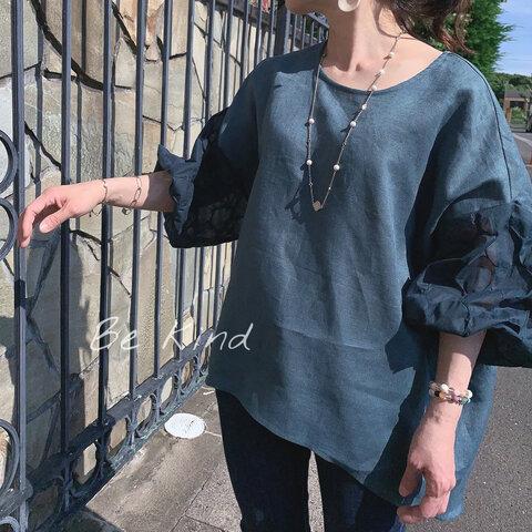 リネン100%透け感バルーン袖プルオーバー ピーコックグリーン