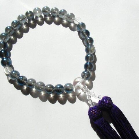 ★念珠・数珠★再販 天然石 パワーストーン 葬祭用お数珠 正絹房 アクアオーラ 10mm