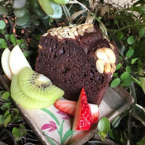 濃厚な有機カカオのパウンドケーキ[卵・乳製品・砂糖不使用]