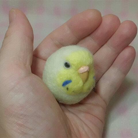 セキセイインコ  レインボ-パステルグリ-ン ☆選べる2タイプ☆(Aマグネット・Bクリップ付ブローチピン)  コロコロ♪丸顔  羊毛の小鳥