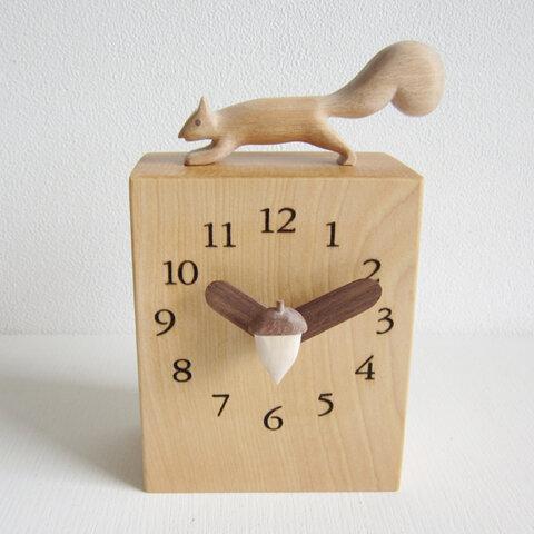 リス君スクエアー 置き時計