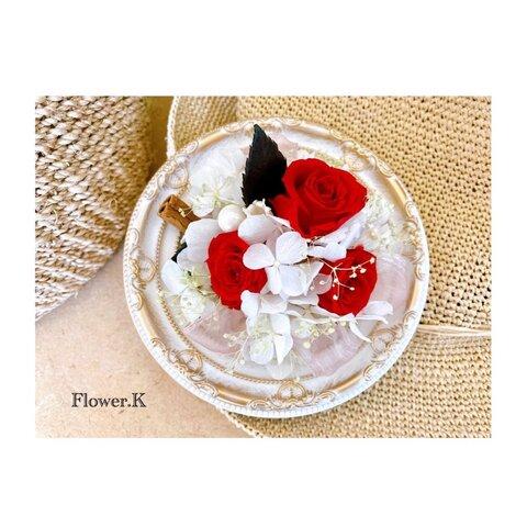 お花たっぷり☆ショートケーキ風プリザーブドフラワーフレーム