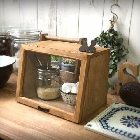 カフェ風miniカウンター棚/ショーケース/収納棚/キッチンやデスクにも