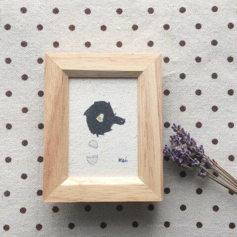 グッドモーニン♪お部屋に癒しのアート Keiちゃんお絵描きファブリックミニアート『フライパンと目玉焼き』