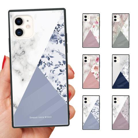 ガラスケース スクエア iPhone 13 Pro mini 12 11 XR SE 8 iPhoneケース TPUケース 強化ガラス 海外 花柄 花 FLOWER バイカラー bicolor カラー