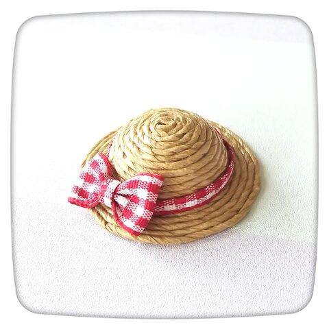 麦わら帽子のブローチ(赤)