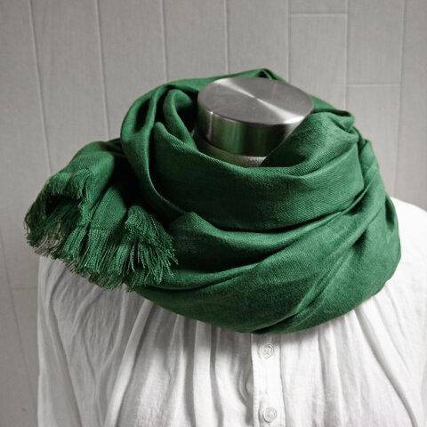 秋冬 厚手綾織フレンチリネンのストール グリーン