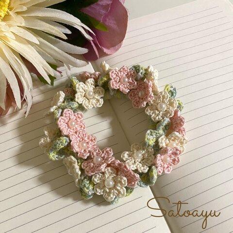 フラワーリースシュシュ 天使の花冠
